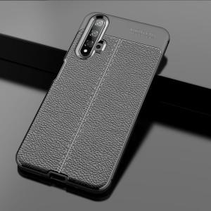 Силиконовый матовый непрозрачный чехол с текстурным покрытием Кожа для Huawei Honor 20  Черный
