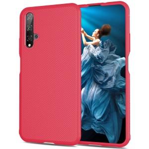 Силиконовый матовый непрозрачный чехол с текстурным покрытием Линии для Huawei Honor 20  Красный