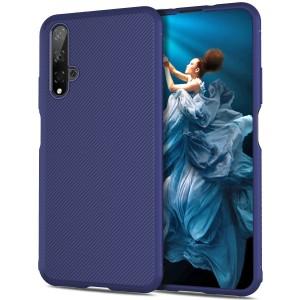 Силиконовый матовый непрозрачный чехол с текстурным покрытием Линии для Huawei Honor 20  Синий