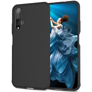 Силиконовый матовый непрозрачный чехол с текстурным покрытием Линии для Huawei Honor 20  Черный