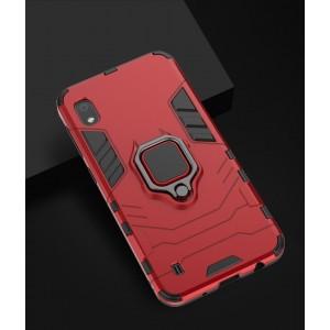 Противоударный двухкомпонентный силиконовый матовый непрозрачный чехол с поликарбонатными вставками экстрим защиты с встроенным кольцом-подставкой для Samsung Galaxy A10 Красный