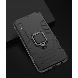 Противоударный двухкомпонентный силиконовый матовый непрозрачный чехол с поликарбонатными вставками экстрим защиты с встроенным кольцом-подставкой для Samsung Galaxy A10 Черный