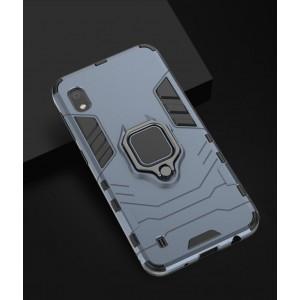 Противоударный двухкомпонентный силиконовый матовый непрозрачный чехол с поликарбонатными вставками экстрим защиты с встроенным кольцом-подставкой для Samsung Galaxy A10 Синий