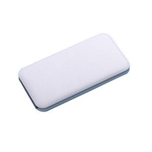 Портативное зарядное устройство текстура Кожа 10000mAh с 2-я USB разъемами и LED-индикацией заряда Белый