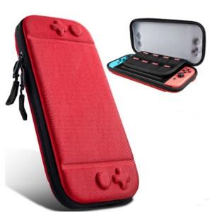 Противоударный футляр повышенной жесткости с тканевым покрытием и отсеками для картриджей для Nintendo Switch Красный