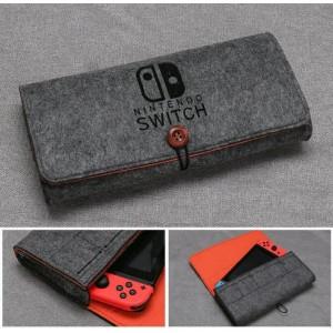 Войлочная папка с отсеками для картриджей на резинке для Nintendo Switch Черный