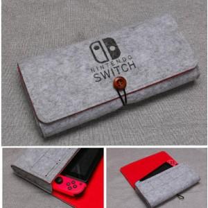Войлочная папка с отсеками для картриджей на резинке для Nintendo Switch Серый