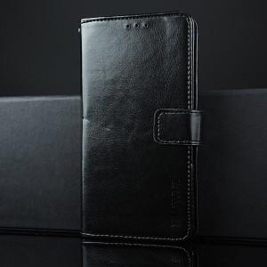 Глянцевый водоотталкивающий чехол портмоне подставка на силиконовой основе с отсеком для карт на магнитной защелке для Doogee X5 Черный