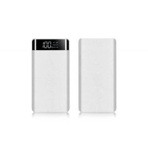 Портативное зарядное устройство текстура Ткань 20000 mAh с 2-я USB разъемами (5V/2.1А), LCD-экраном и LED-фонариком Белый