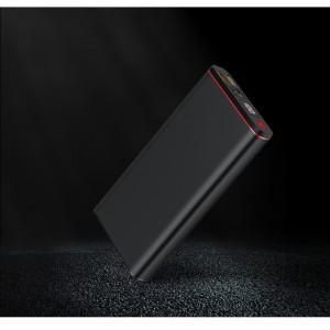Портативное зарядное устройство 20000 mAh с 2-я USB разъемами (5V/2.1А) и разъемом Type-C, поддержкой быстрой зарядки QC3.0 и LCD-экраном Черный