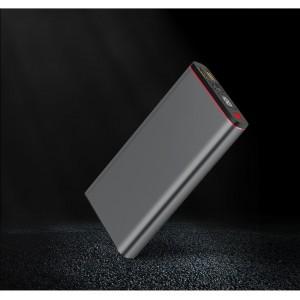 Портативное зарядное устройство 20000 mAh с 2-я USB разъемами (5V/2.1А) и разъемом Type-C, поддержкой быстрой зарядки QC3.0 и LCD-экраном Серый