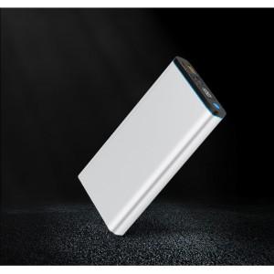 Портативное зарядное устройство 20000 mAh с 2-я USB разъемами (5V/2.1А) и разъемом Type-C, поддержкой быстрой зарядки QC3.0 и LCD-экраном Белый