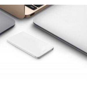 Портативное зарядное устройство текстура Кожа 10000 mAh с LED-индикацией заряда и встроенным кабелем microUSB/Lightning Белый