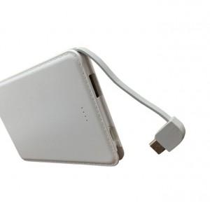Портативное зарядное устройство текстура Кожа 10000 mAh с LED-индикацией заряда и встроенным кабелем microUSB/Lightning