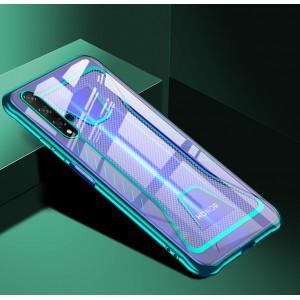 Силиконовый глянцевый полупрозрачный чехол с усиленными углами с текстурным покрытием Металлик для Huawei Honor 20 Зеленый
