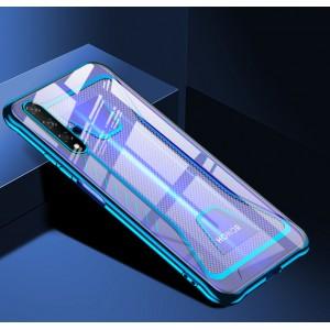 Силиконовый глянцевый полупрозрачный чехол с усиленными углами с текстурным покрытием Металлик для Huawei Honor 20 Синий