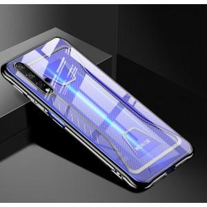 Силиконовый глянцевый полупрозрачный чехол с усиленными углами с текстурным покрытием Металлик для Huawei Honor 20