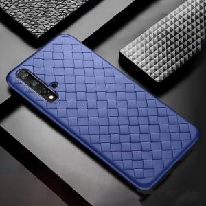 Силиконовый матовый непрозрачный чехол с текстурным покрытием Плетеная кожа для Huawei Honor 20  Синий