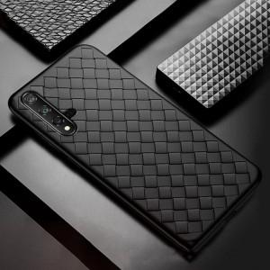 Силиконовый матовый непрозрачный чехол с текстурным покрытием Плетеная кожа для Huawei Honor 20  Черный