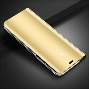Пластиковый непрозрачный матовый чехол с полупрозрачной крышкой с зеркальным покрытием для Huawei Honor 20  Бежевый