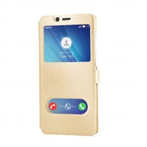 Чехол флип подставка текстура Золото на пластиковой основе с окном вызова и свайпом на магнитной защелке для Samsung Galaxy A70 Бежевый