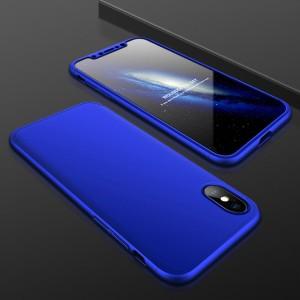 Двухкомпонентный пластиковый непрозрачный матовый чехол сборного типа для Iphone X 10/XS Синий