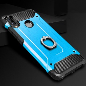 Противоударный двухкомпонентный силиконовый матовый непрозрачный чехол с поликарбонатными вставками экстрим защиты с встроенным кольцом-подставкой для Huawei Honor 8X Голубой