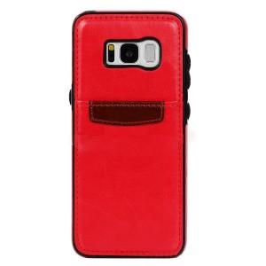 Чехол накладка текстурная отделка Кожа с отсеком для карт для Samsung Galaxy S8 Красный