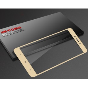 Полноэкранное ультратонкое износоустойчивое сколостойкое олеофобное защитное стекло-пленка для Xiaomi RedMi Note 4X Бежевый