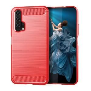 Силиконовый матовый непрозрачный чехол с текстурным покрытием Металлик для Huawei Honor 20/20 Pro Красный