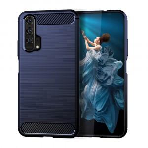 Силиконовый матовый непрозрачный чехол с текстурным покрытием Металлик для Huawei Honor 20/20 Pro Синий