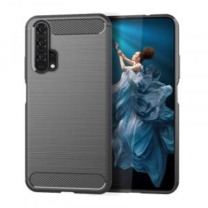 Силиконовый матовый непрозрачный чехол с текстурным покрытием Металлик для Huawei Honor 20/20 Pro Серый