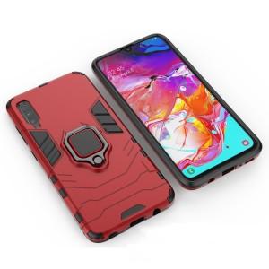 Противоударный двухкомпонентный силиконовый матовый непрозрачный чехол с поликарбонатными вставками экстрим защиты с встроенным кольцом-подставкой и текстурным покрытием Металлик для Samsung Galaxy A70 Красный