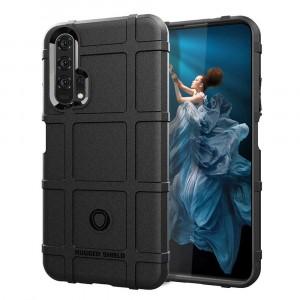 Силиконовый матовый непрозрачный чехол с текстурным покрытием Клетка для Huawei Honor 20/20 Pro Черный