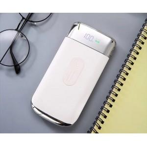 Портативное зарядное устройство 10000 mAh с 2-я USB разъемами (5V/2.1А), LCD-экраном, функцией беспроводной зарядки и LED-фонариком Белый
