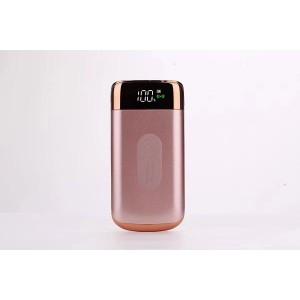 Портативное зарядное устройство 10000 mAh с 2-я USB разъемами (5V/2.1А), LCD-экраном, функцией беспроводной зарядки и LED-фонариком Розовый