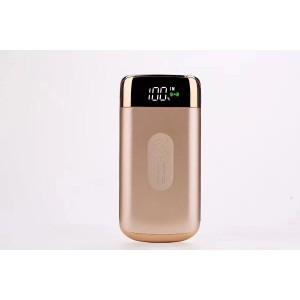 Портативное зарядное устройство 10000 mAh с 2-я USB разъемами (5V/2.1А), LCD-экраном, функцией беспроводной зарядки и LED-фонариком Бежевый