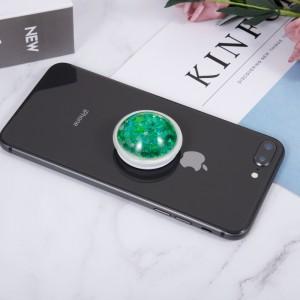 Телескопический держатель/подставка/попсокет с внутренней аква-аппликацией Зеленый