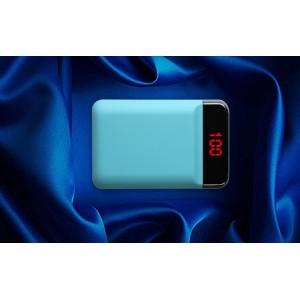 Карманное зарядное устройство 12000 mAh в корпусе из софт-тач пластика с 2-я USB разъемами (5V/2.1А) и LCD-экраном Голубой