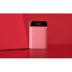 Карманное зарядное устройство 12000 mAh в корпусе из софт-тач пластика с 2-я USB разъемами (5V/2.1А) и LCD-экраном Розовый
