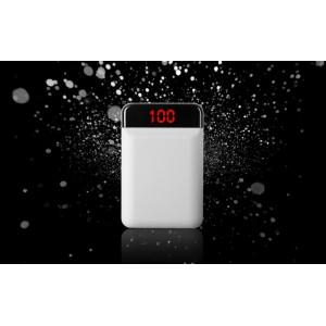 Карманное зарядное устройство 12000 mAh в корпусе из софт-тач пластика с 2-я USB разъемами (5V/2.1А) и LCD-экраном Белый