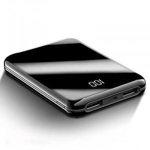 Карманное зарядное устройство 10000 mAh в зеркальном корпусе с 2-я USB разъемами (5V/2.1А) и LCD-экраном Черный