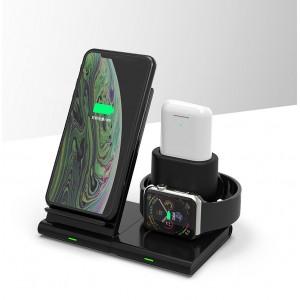 Модульное беспроводное зарядное устройство-подставка для одновременной зарядки Apple Watch, AirPods и iPhone