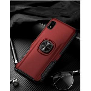 Противоударный двухкомпонентный силиконовый матовый непрозрачный чехол с поликарбонатными вставками экстрим защиты с встроенным кольцом-подставкой и текстурным покрытием Кожа для Samsung Galaxy A10  Красный