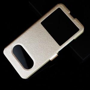 Чехол флип подставка текстура Золото на пластиковой основе с окном вызова и полоcой свайпа для Huawei Y6 (2019)/Honor 8A