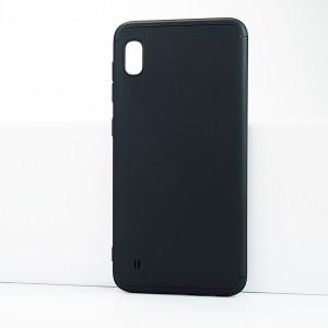 Двухкомпонентный сборный двухцветный пластиковый матовый чехол для Samsung Galaxy A10 Черный