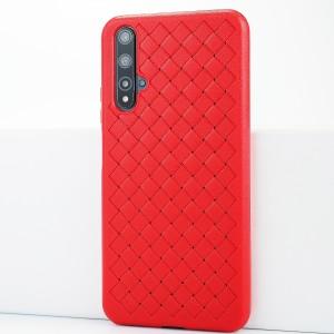 Силиконовый матовый непрозрачный чехол с текстурным покрытием Плетеная кожа для Huawei Honor 20 Красный