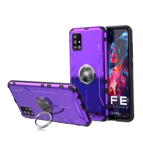 Металлический противоударный двухкомпонентный чехол с кольцом-подставкой для Samsung Galaxy A71 Фиолетовый - купить на 100gadgets.ru