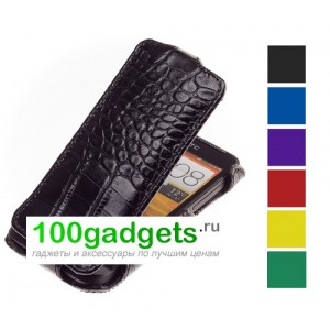 Чехол кожаный (кожа рептилии) книжка вертикальная для HTC One V T320E